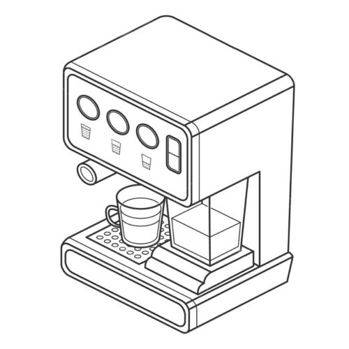 coffee machine with cups. Vector isometric illustration